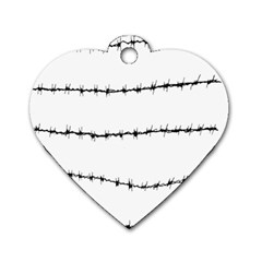 Barbed Wire Black Dog Tag Heart (two Sides)