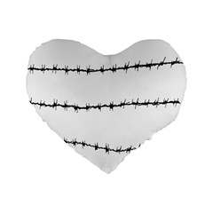 Barbed Wire Black Standard 16  Premium Heart Shape Cushions