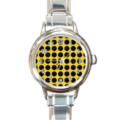 Circles1 Black Marble & Yellow Colored Pencil Round Italian Charm Watch