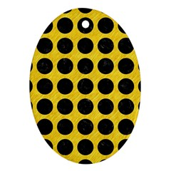 Circles1 Black Marble & Yellow Colored Pencil Ornament (oval)