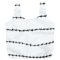 Barbed Wire Black Full Print Recycle Bags (l)