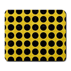 Circles1 Black Marble & Yellow Colored Pencil Large Mousepads