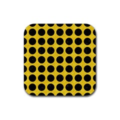 Circles1 Black Marble & Yellow Colored Pencil Rubber Square Coaster (4 Pack)
