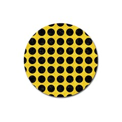 Circles1 Black Marble & Yellow Colored Pencil Magnet 3  (round)