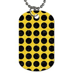 Circles1 Black Marble & Yellow Colored Pencil Dog Tag (one Side)