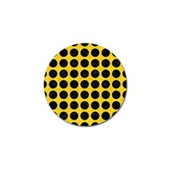 Circles1 Black Marble & Yellow Colored Pencil Golf Ball Marker
