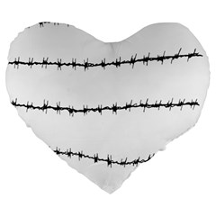 Barbed Wire Black Large 19  Premium Flano Heart Shape Cushions