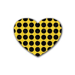 Circles1 Black Marble & Yellow Colored Pencil Rubber Coaster (heart)