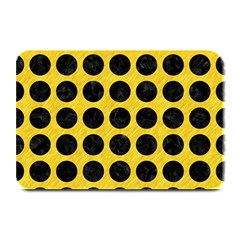 Circles1 Black Marble & Yellow Colored Pencil Plate Mats