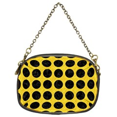 Circles1 Black Marble & Yellow Colored Pencil Chain Purses (two Sides)
