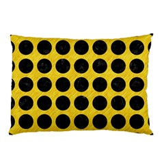 Circles1 Black Marble & Yellow Colored Pencil Pillow Case