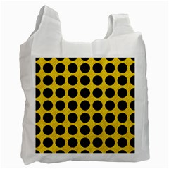 Circles1 Black Marble & Yellow Colored Pencil Recycle Bag (two Side)