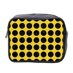 Circles1 Black Marble & Yellow Colored Pencil Mini Toiletries Bag 2 Side