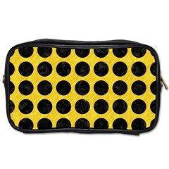 Circles1 Black Marble & Yellow Colored Pencil Toiletries Bags 2 Side