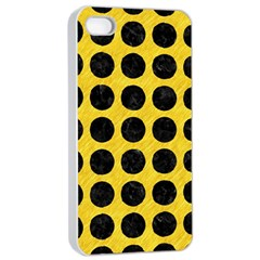 Circles1 Black Marble & Yellow Colored Pencil Apple Iphone 4/4s Seamless Case (white)