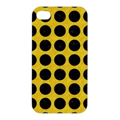 Circles1 Black Marble & Yellow Colored Pencil Apple Iphone 4/4s Hardshell Case