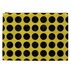 Circles1 Black Marble & Yellow Colored Pencil Cosmetic Bag (xxl)