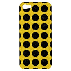 Circles1 Black Marble & Yellow Colored Pencil Apple Iphone 5 Hardshell Case