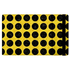 Circles1 Black Marble & Yellow Colored Pencil Apple Ipad 2 Flip Case