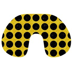 Circles1 Black Marble & Yellow Colored Pencil Travel Neck Pillows