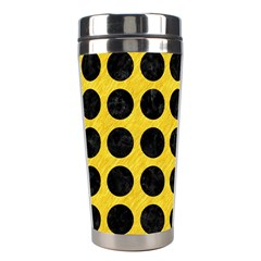 Circles1 Black Marble & Yellow Colored Pencil Stainless Steel Travel Tumblers