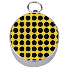 Circles1 Black Marble & Yellow Colored Pencil Silver Compasses