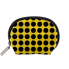 Circles1 Black Marble & Yellow Colored Pencil Accessory Pouches (small)