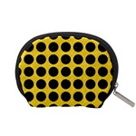 CIRCLES1 BLACK MARBLE & YELLOW COLORED PENCIL Accessory Pouches (Small)  Back