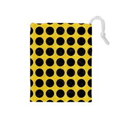 Circles1 Black Marble & Yellow Colored Pencil Drawstring Pouches (medium)