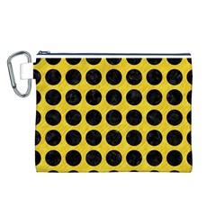 Circles1 Black Marble & Yellow Colored Pencil Canvas Cosmetic Bag (l)