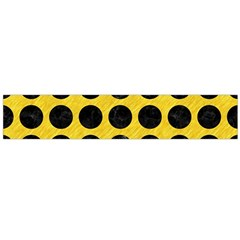 Circles1 Black Marble & Yellow Colored Pencil Large Flano Scarf