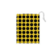 Circles1 Black Marble & Yellow Colored Pencil Drawstring Pouches (xs)