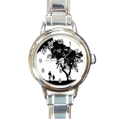 Black Father Daughter Natural Hill Round Italian Charm Watch
