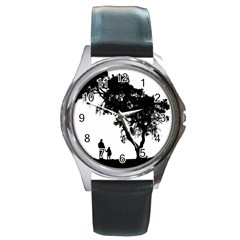 Black Father Daughter Natural Hill Round Metal Watch
