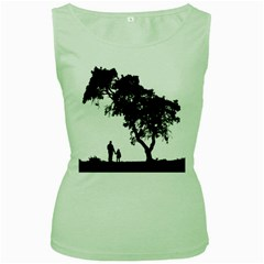 Black Father Daughter Natural Hill Women s Green Tank Top