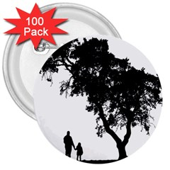 Black Father Daughter Natural Hill 3  Buttons (100 Pack)