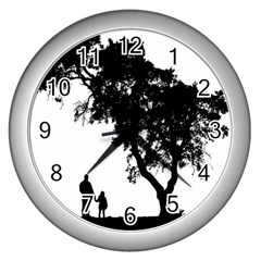 Black Father Daughter Natural Hill Wall Clocks (silver)