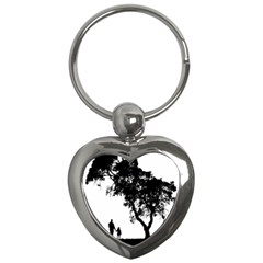 Black Father Daughter Natural Hill Key Chains (heart)