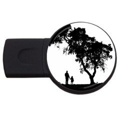 Black Father Daughter Natural Hill Usb Flash Drive Round (2 Gb)