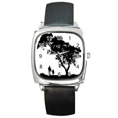 Black Father Daughter Natural Hill Square Metal Watch