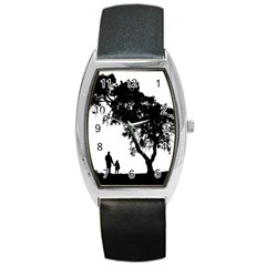 Black Father Daughter Natural Hill Barrel Style Metal Watch