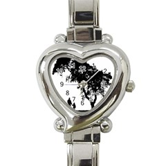 Black Father Daughter Natural Hill Heart Italian Charm Watch