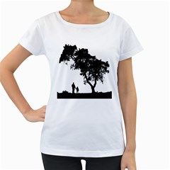 Black Father Daughter Natural Hill Women s Loose Fit T Shirt (white)