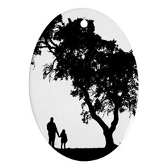 Black Father Daughter Natural Hill Oval Ornament (two Sides)