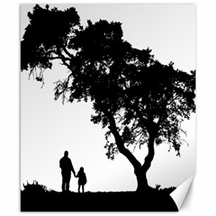 Black Father Daughter Natural Hill Canvas 8  X 10