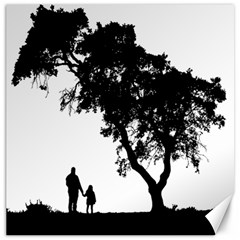 Black Father Daughter Natural Hill Canvas 12  X 12
