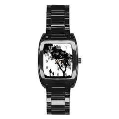 Black Father Daughter Natural Hill Stainless Steel Barrel Watch
