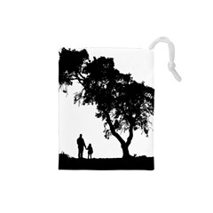 Black Father Daughter Natural Hill Drawstring Pouches (small)