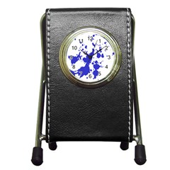 Blue Plaint Splatter Pen Holder Desk Clocks