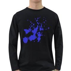Blue Plaint Splatter Long Sleeve Dark T Shirts